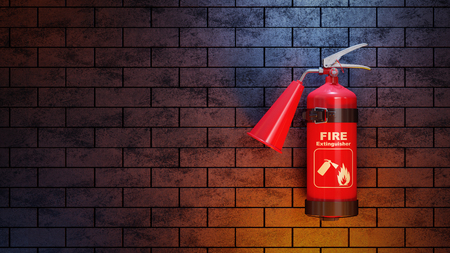 Red fire extinguisher on brick wall. 3d concept