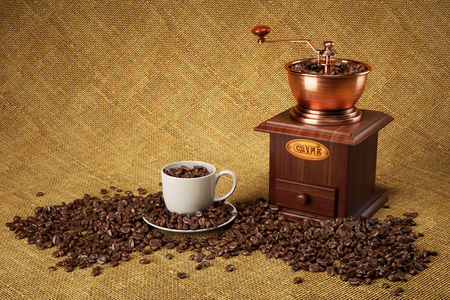 Manual rectro coffee mill, cup and coffee beans on sackcloth. 3d render
