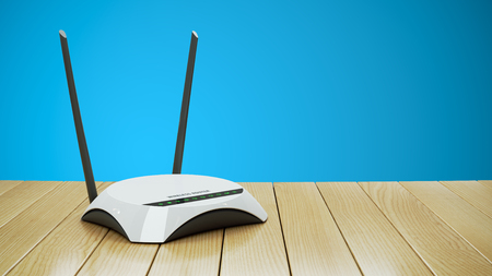 Internet Wi-Fi router on wooden table 3d