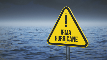 Sign Irma hurricane immersed in water. Concept 3d Stock Photo