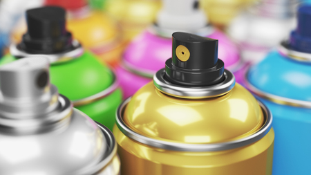 Colored spray paint cans closeup. Render 3d