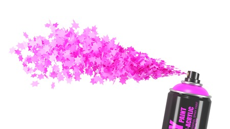 Stream pink stars from spray paint can isolated on white background 3d
