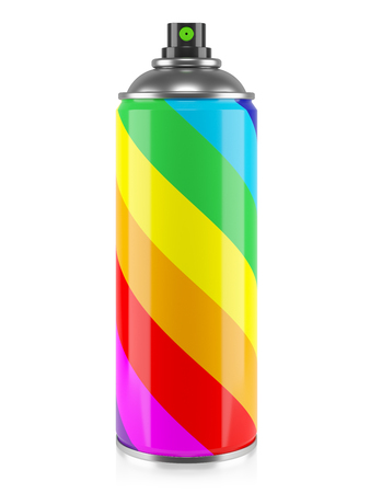 Spray paint with rainbow stripes colors isolated on white background 3d