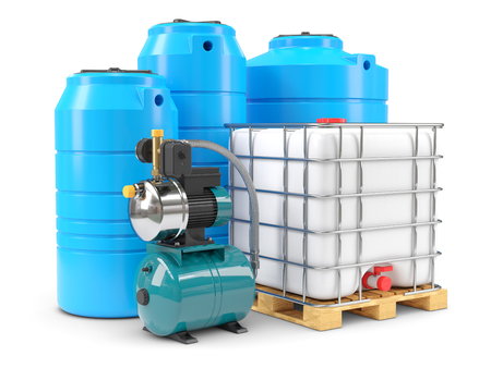 Equipment for autonomous water supply. Pumping station and PVC water tanks. 3d render