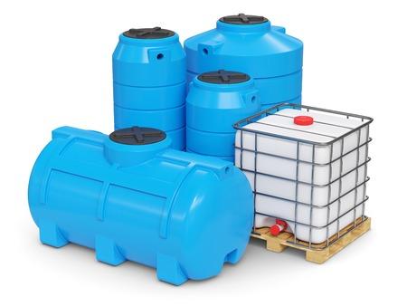 Grands réservoirs en plastique pour une alimentation en eau autonome. Rendu 3d Banque d'images
