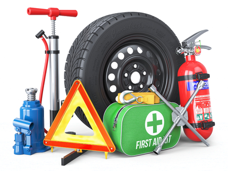 A set of automotive accessories. Spare wheel, fire extinguisher, first aid kit, emergency warning triangle, jack, tow rope, wheel wrench, pump. Objects isolated on white background. 3d Stok Fotoğraf - 88893696