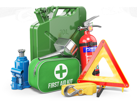 Group of automobile accessories. Jerrycan, funnel, fire extinguisher, first aid kit, tow rope, jack and emergency warning triangle. Objects isolated on white background. 3d