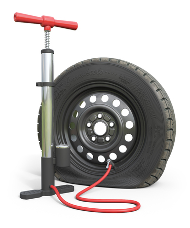 Air pump and puncture car wheel isolated on white background. 3d render illustration Stock Photo