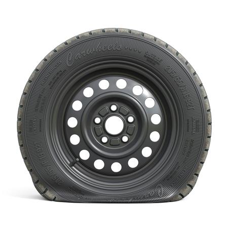 Punctured black car wheel isolated on white background. 3d render illustration