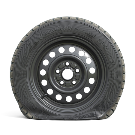 Punctured black car wheel isolated on white background. 3d render illustration