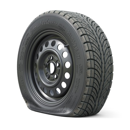 Punctured car wheel isolated on white background. 3d render illustration