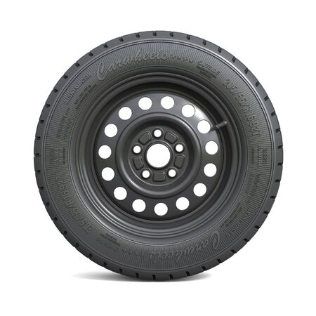 Classic black car wheel isolated on white background. 3d illustration