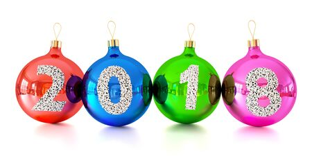 Christmas decorations glass balls with numbers 2018 isolated on white background 3d