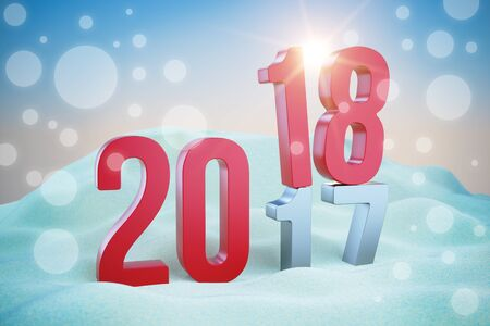 Red inscription New Year 2018 in snowdrift. 3d illustration Stock Photo