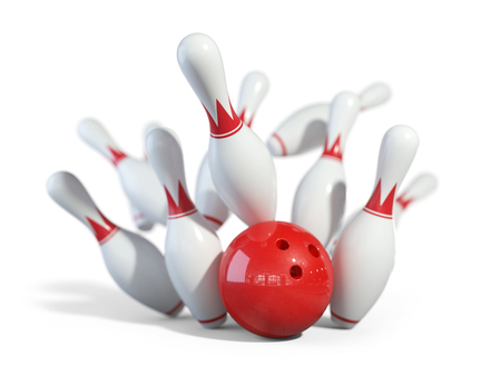 Red ball smashes the bowling pins. Objects isolated on white background 3D Stock Photo