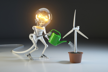 Robot lamp watering wind generator in a pot. The concept of environmental protection. 3D rendering Stock Photo