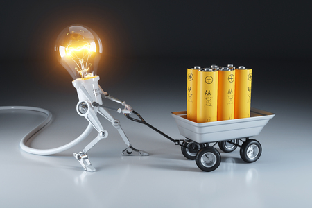 Cartoon personage lamp robot and trolley with batteries. Waste recycling plant. 3d concept.