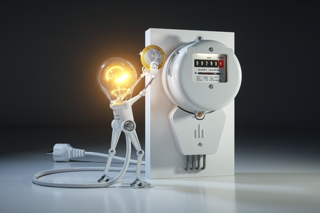 Le robot léger de personnage de dessin animé paie l'utilité des tarifs en mètre de kilowatt-heure. Concept 3D