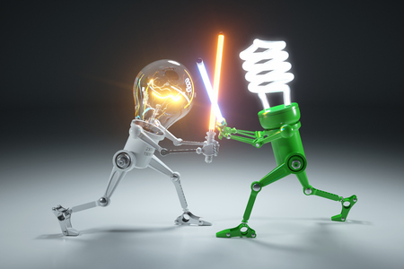 Confrontation cartoon personages bulb light and LED light lamps in style