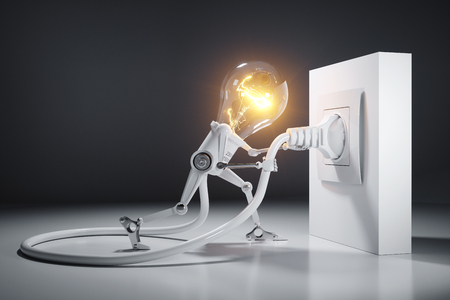Cartoon light bulb robot attaches an electrical plug to the wall outlet. Electrical goods concept. 3d render