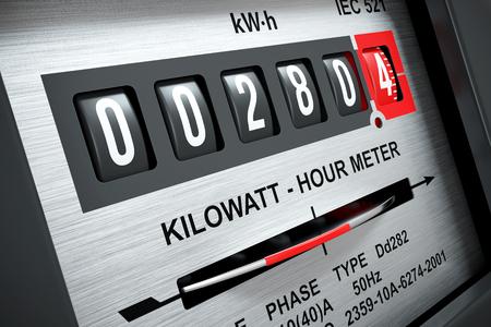 Electricity kilowatt hour meter closeup 3d