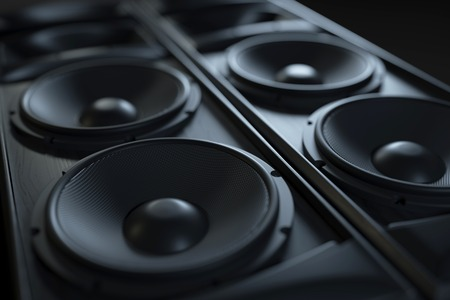 Hi-Fi acoustic sound system closeup. Macro shot. 3d render