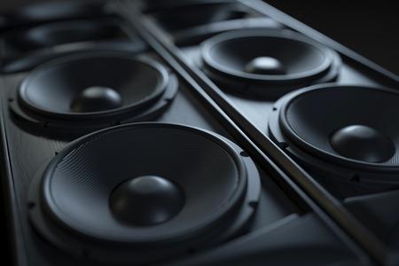 Zbliżenie akustycznego systemu nagłośnienia Hi-Fi. Zdjęcia makro. Renderowania 3D