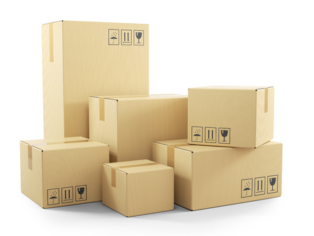 Groep goederen in kartonnen dozen. Voorwerpen op witte 3d achtergrond worden geïsoleerd die