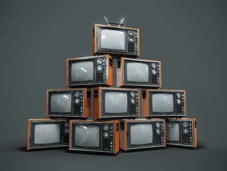 Pile of old retro TVs on dark background. 3D render