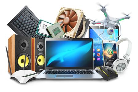 Computer, dispositivi mobili e logo di accessori digitali. Isolato su sfondo bianco 3d Archivio Fotografico