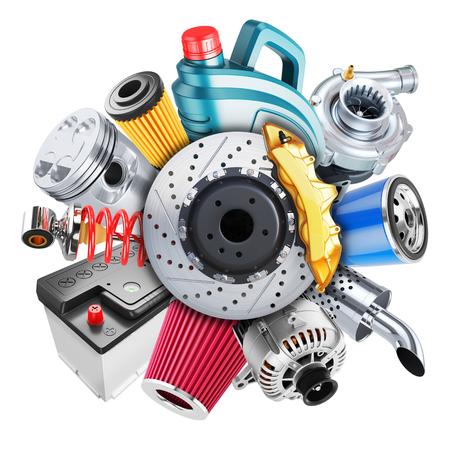 Car spare parts logo. 3d concept isolated on white background 3d Foto de archivo