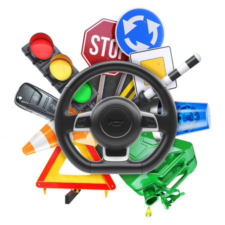 Driving school isolated on white background 3d Stock Photo