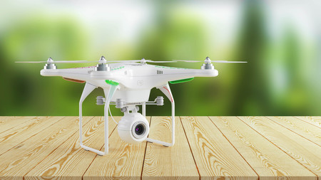 White modern drone on wooden table on background of nature. 3d render Stock Photo