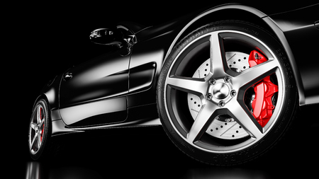Black luxury car in studio lighting. Closeup wheel shot. 3d render