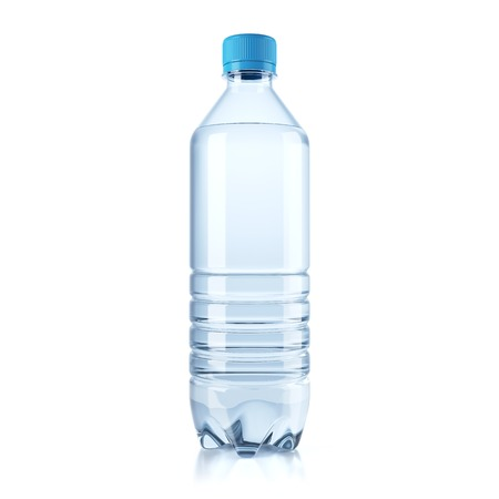 Plastic bottle with water isolated on white background. 3d Imagens