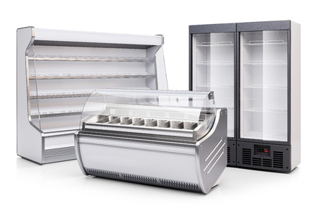 Freezer showcase, refrigerated cabinet and fridge showcase isolated on white background 3d