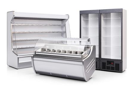 Gefrierschrank Vitrine, gekühlter Schrank und Kühlschrank Vitrine isoliert auf weißem Hintergrund 3d Standard-Bild