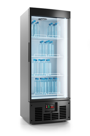 Upright refrigerated cabinet with glass door. Water bottles on shelves. 3d render Stock Photo