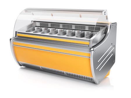 Yellow retro ice cream showcase isolated on white background 3d