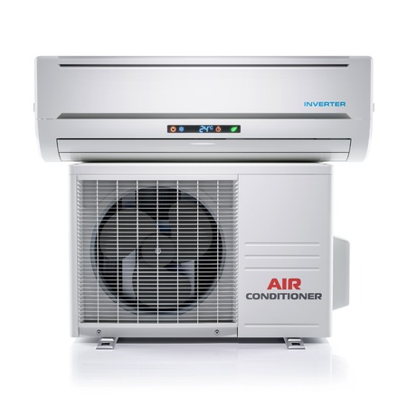 Air conditioner unit isolated on white background 3d render Stock Photo