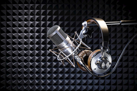 Headphones on microphone on the background of sound-absorbing liner. 3d render