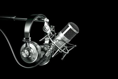 Audio recording studio equipment, Headphones on microphone stand. 3d render