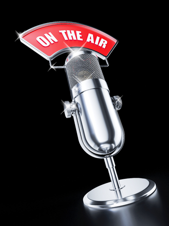 ON AIR microphone on black background. 3d render