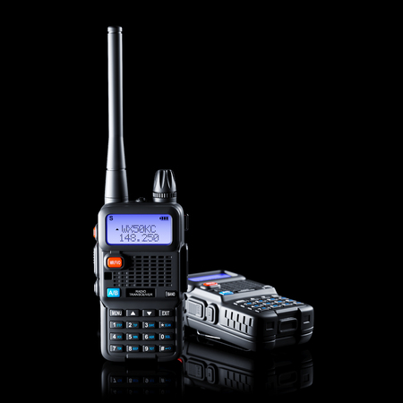 Two of dual band walkie-talkie on black background 3d Stock Photo