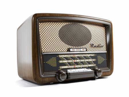 Oude radio-ontvanger geïsoleerd op een witte achtergrond 3d