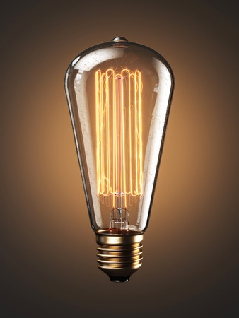 Old bulb lamp filament on light background. 3d render Stock Photo