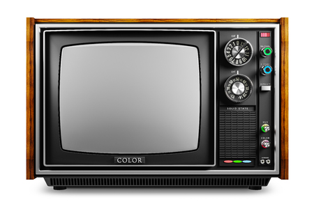 Ein alter Fernseher mit einem monochromen Kinescope lokalisiert auf weißem Hintergrund 3d Standard-Bild - 107750052