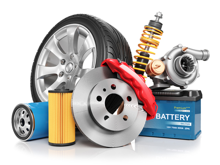 Set of car parts isolated on white background 3d