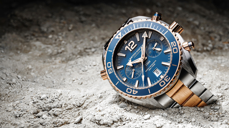Luxury wristwatches on sand ground focused to light. 3d render Stock Photo