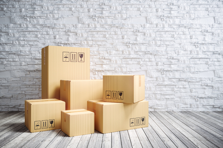 Cardboard moving boxes in new home. 3d render Stock Photo